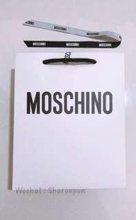 MOSCHINO paper bag + ribbon + tag + paper