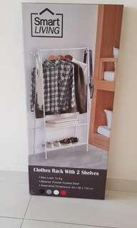 Clothes rak with 2 shelves