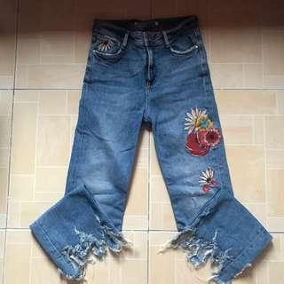 Zara Embroidered Hw-jeans