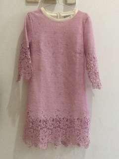 Dress brokat ungu-D004