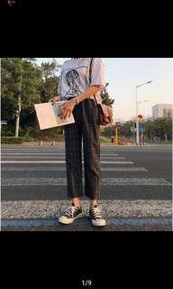 灰色九分格子褲 (有實穿照) 好搭又好穿