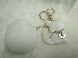 🚚 全新白貓圓球球鑰匙圈吊飾