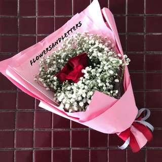 Flower Bouquet (B1) 3 stalks of Red/pink roses with white baby's breath
