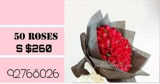 🚚 50 red roses bouquet!!
