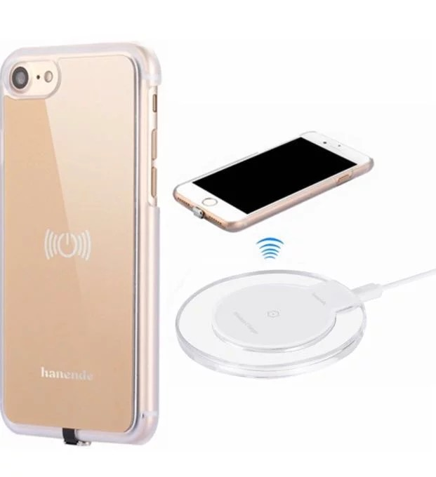 the best attitude 9a640 dad0b (173) Wireless Charger Kit for iPhone 7, hanende Qi Wireless Charging Pad  and Wireless Receiver Case for iPhone 7 (Gold)