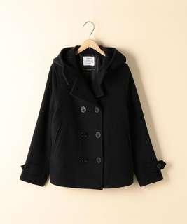 日貨coen混羊毛雙排扣連帽大衣