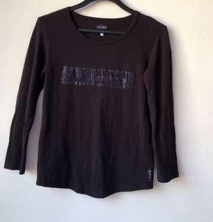 Armani Jeans Black Long Sleeve TOP