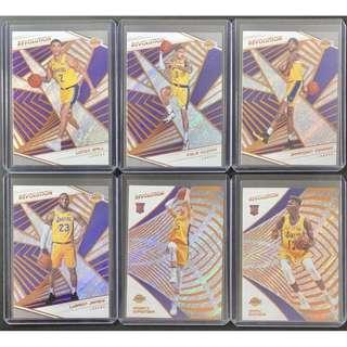 🚚 2018-19 NBA Panini Revolution Basketball Los Angeles Lakers Lot of 6 Cards