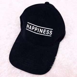 🌸Monochrome Black White Happiness Word Embroidered Slogan Baseball Cap