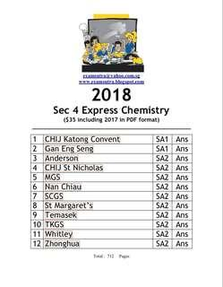🚚 Sec 4 Pure Chemistry 2018 (softcopy)