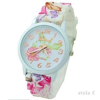 women watch floral print jelly plastic 女 手錶 腕錶 表 膠帶 高貴款 學生 運動 小禮物 CH20# C