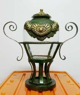 Hand blown Glass Vase on Wrought Iron Pedestal