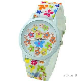 watch lady women 手錶 中童 返學 清貨 可愛花花 禮物 腕表 rubber wristwatch cheap flower print CH20# D