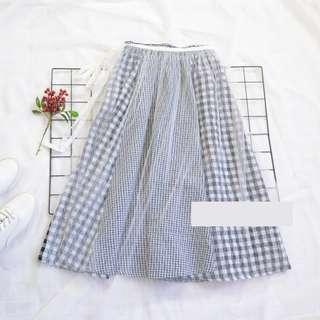 🌸Monochrome Black White Gingham Harajuku 2 Way High Waist Flare Long Skirt with Removable Sheer Mesh Outer Layer Skirt