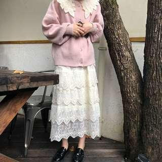 🌸Beige Embroidered Tiered Lace Mori Girl High Waist Long Skirt