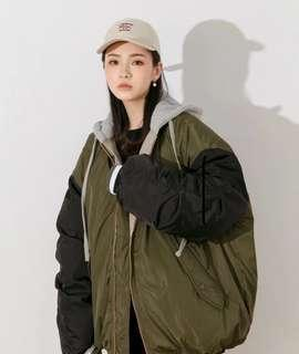 (降價!)拼色連帽寬鬆外套(軍綠)oversize棒球外套 鋪棉外套 雙面外套 風衣