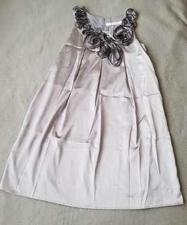 Silver Satin alike Dress #FEBP55