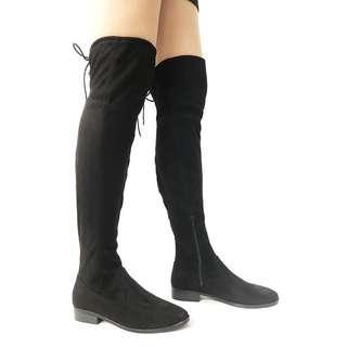 女靴 women boots suede with defects black shoes US 7.5 長靴 有瑕疵 平賣 大腿靴 No.24