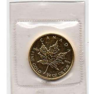 CANADIAN MAPLE LEAF, QUARTER OUNCE 999.9 PURE GOLD COIN