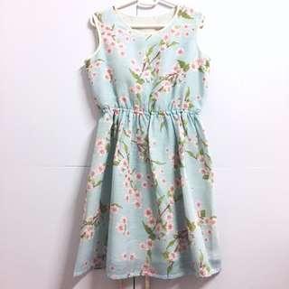 🌸Pastel Mint Sakura Floral Print A Line Sleeveless Dress