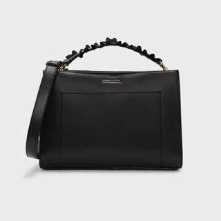 BLACK RUFFLE HAND BAG