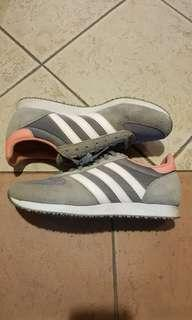 Authentic light grey and white pink three stripe adidas sneakers