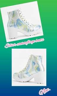 silver camouflage boots 36-37