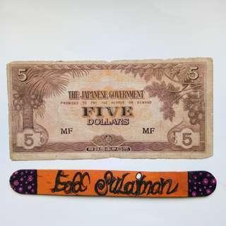 Malaya JIM 5 Dollars block MF