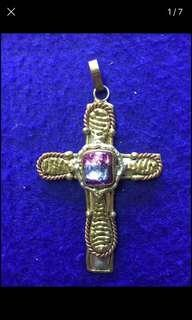 Mexican cooper cross large. dichroic glass centre $40 firm perth.