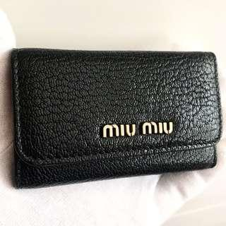 MIU MIU Black Vitello Key Holder Card Case Wallet 100% AUTHENTIC+BRAND NEW! #5PG222