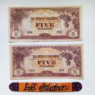 Malaya JIM 5 Dollars block MR
