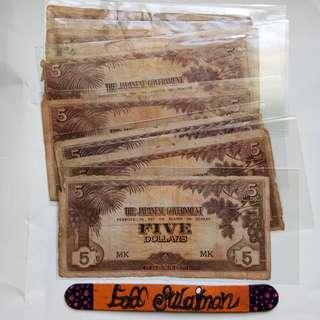 Malaya JIM 5 Dollars block MK