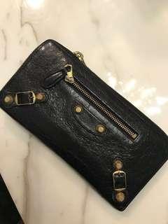 二手正品Balenciaga巴黎世家黑色黑金卯釘皮夾長夾錢包