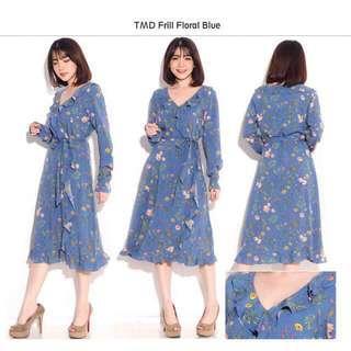 Tom Tailor frill blue floral dress