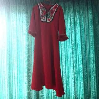 #MFEB20 3/4 Sleeves Embroidered Long Dress
