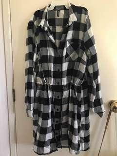 H & M check shirt dress
