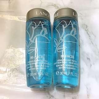 2x Lancome 速效眼部卸妝液 Bi-Facil Non-Oily Sensitive Eyes Instant Cleanser 30ml Sample