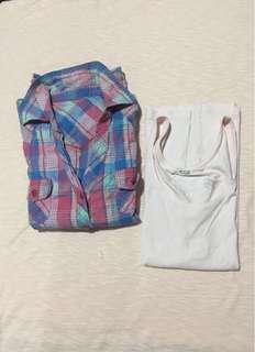 Pink Checkered Polo Longsleeve + Free H&M Sleeveless