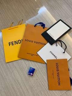 名牌紙袋5個 FENDI . LV. CHANEL. GUCCI