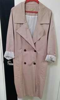 韓國乾濕褸淺粉色trench coat