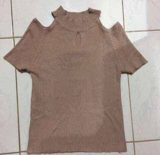 REPRICE! KNITTED NUDE TOP
