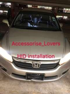 🚚 Hid Hid installation on HONDA Stream and led pole light installation     Suitable for Nissan Toyota Vios Altis Camry Volkswagen scirocco Jetta Golf Passat Mercedes c200 c180 Honda Civic Crossroad mazda 3