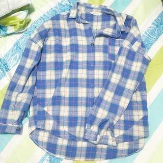 🚚 lovfee 格紋藍色毛呢感厚棉襯衫外套長袖
