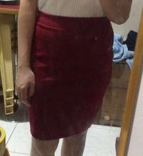 REPRICE! RED OFFICE SKIRT