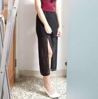 BNWT black long slit skirt