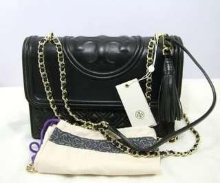 Tory Burch Fleming MD Convertible Leather Bag-BLACK