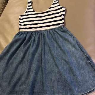 🚚 H&M 洋裝 藍白 條紋 丹寧 牛仔 棉 背心