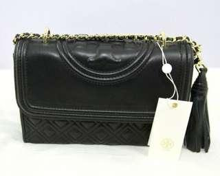 Tory Burch Fleming Small Convertible Leather Bag-BLACK