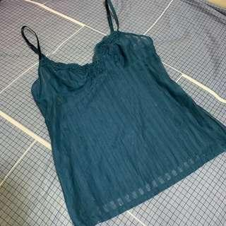 Blue see through stripe top with lace 藍色吊帶背心