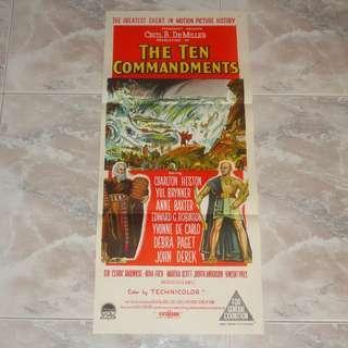 The Ten Commandments Original Movie Poster 1960 Charlton Heston Yul Brynner Paramount Red Sea